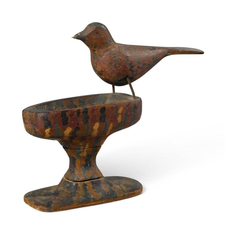 CARVED AND PAINTED WOOD BIRD ON CARVED BIRDBATH BASE, EARLY 20TH CENTURY   Carved and Painted Wood Bird on Carved Birdbath Base