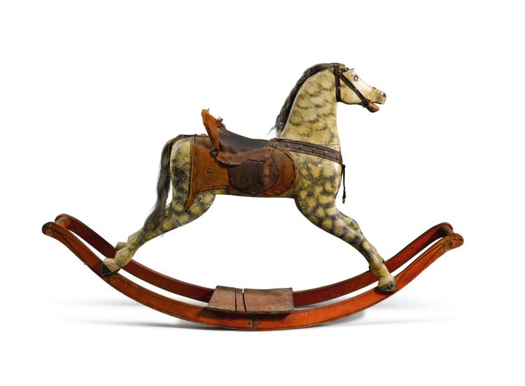 CARVED AND PAINT DECORATED WOOD ROCKING HORSE, PROBABLY GERMAN, MID-19TH CENTURY |
