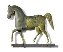 FINE AND RARE GILT COPPER AND CAST ZINC 'INDEX HORSE' WEATHERVANE, J. HOWARD & CO., BRIDGEWATER, MASSACHUSETTS, CIRCA 1860 |