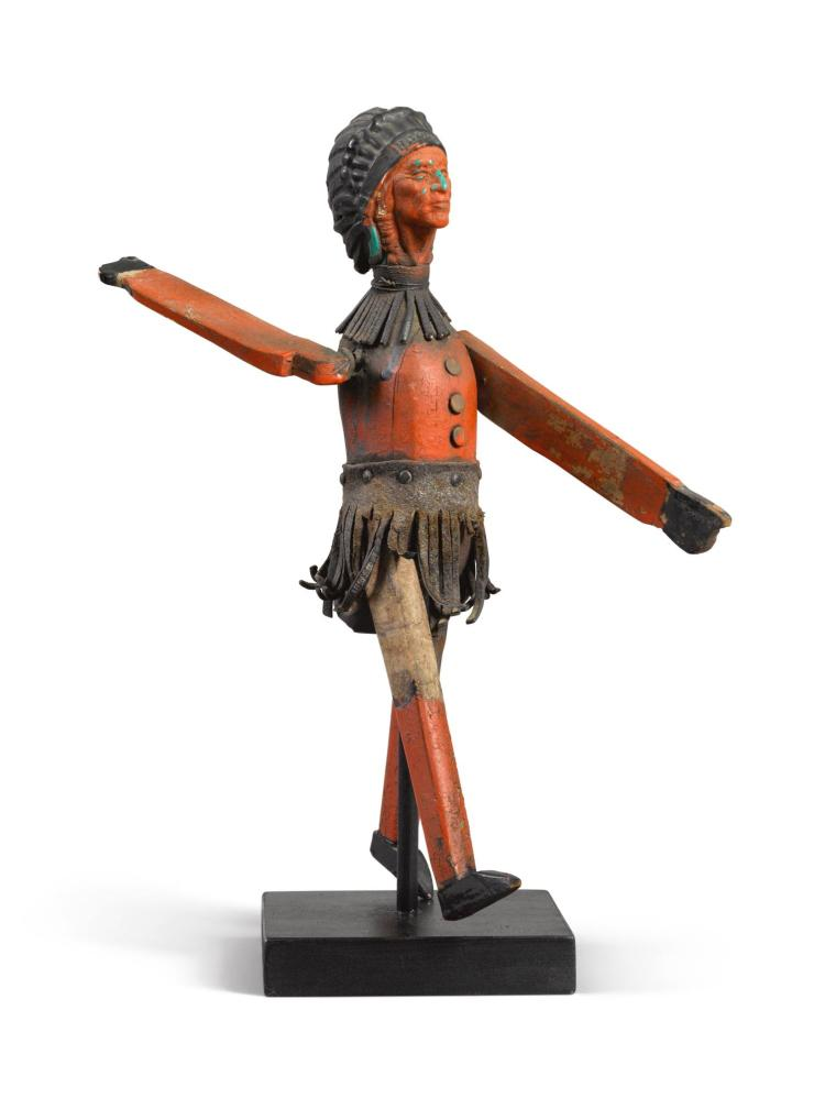 AMERICAN WHIRLIGIG IN THE FORM OF A POLYCHROME-PAINTED STRIDING INDIAN, 20TH CENTURY | Whirligig in the Form of a Polychrome-Painted Striding Indian