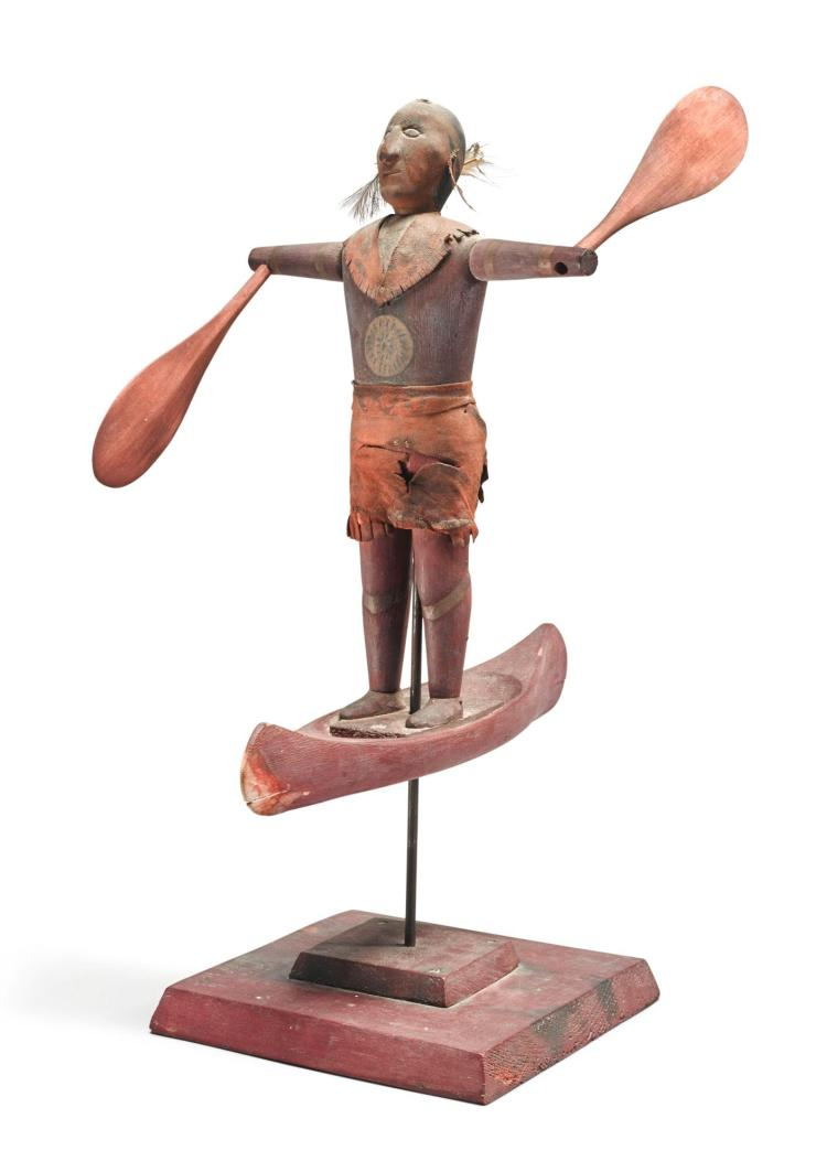 AMERICAN WHIRLIGIG OF AN INDIAN STANDING IN A CANOE, 19TH CENTURY | Whirlygig of an Indian Standing in a Canoe