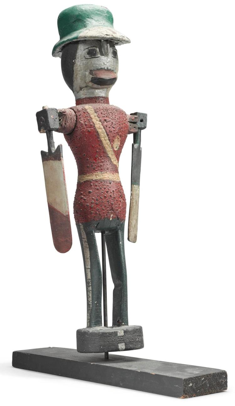CARVED AND PAINTED WOOD WHIRLIGIG OF A SOLDIER WEARING A RED COAT AND A GREEN HAT, PROBABLY LATE 19TH CENTURY |