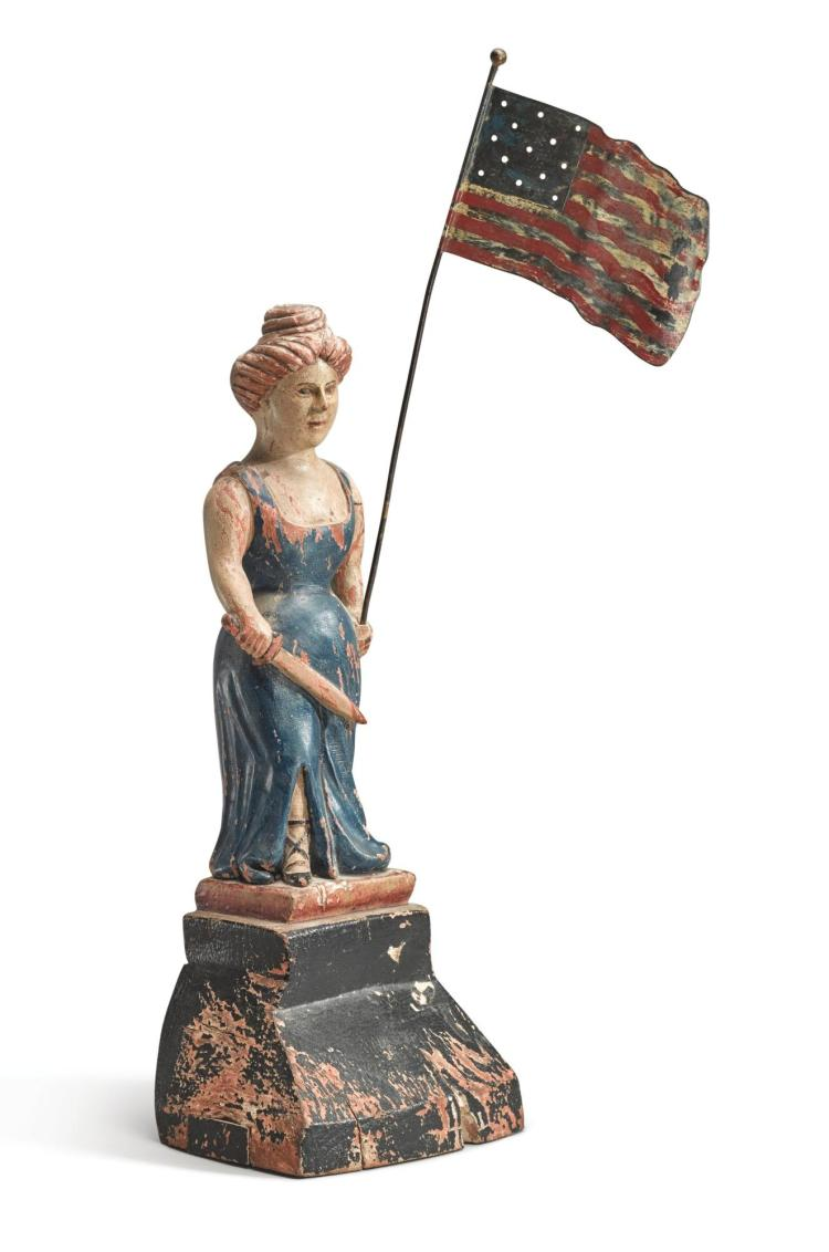 AMERICAN CARVED AND POLYCHROME-PAINTED WOODEN FIGURE OF LADY LIBERTY, LATE 19TH OR EARLY 20TH CENTURY |