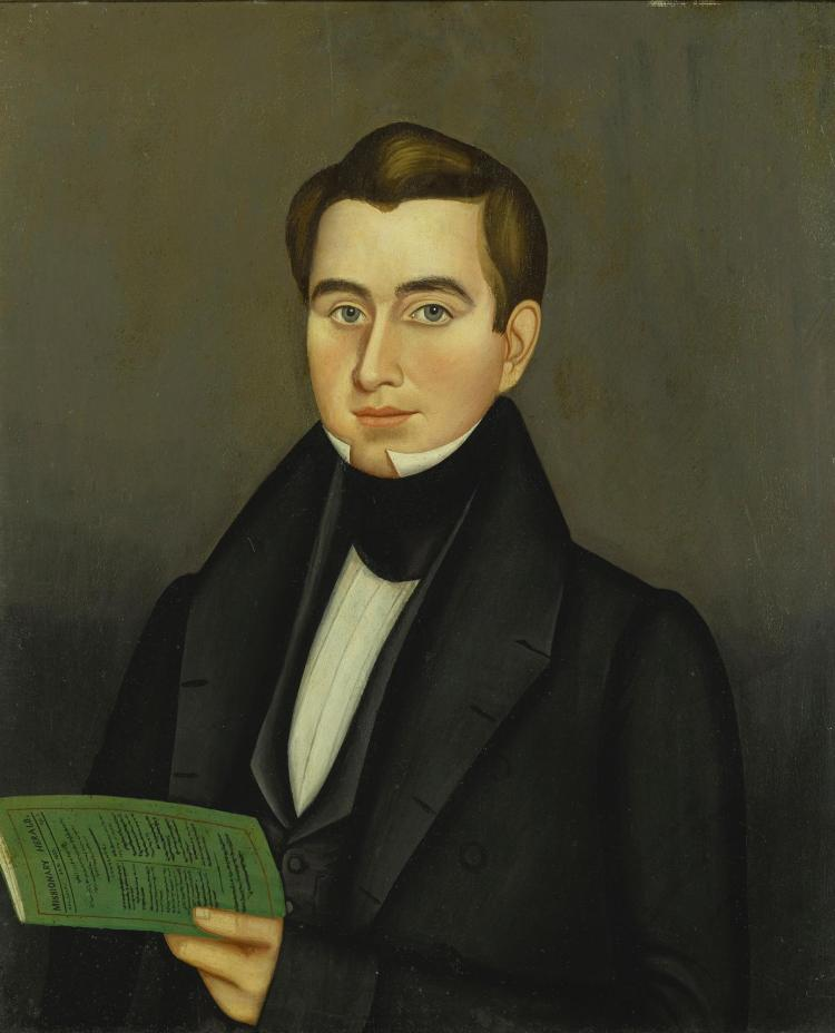 ATTRIBUTED TO MILTON HOPKINS (1789-1844) | Portrait of a Young Man Holding a Green Pamphlet