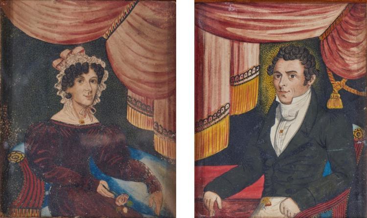 AMERICAN SCHOOL, 19TH CENTURY) | Pair of Portrait Miniatures