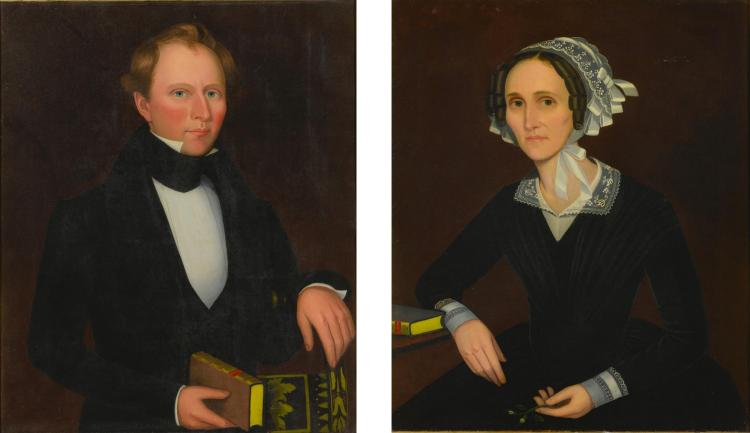 ATTRIBUTED TO AMMI PHILLIPS (1788-1865) | Pair of Portraits, Possibly James and Anna Vail of Hamden, New York