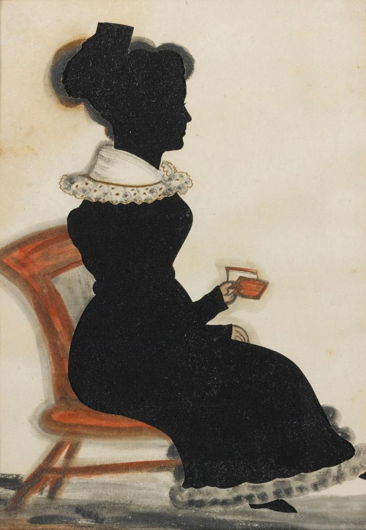 ATTRIBUTED TO 'THE RED BOOK ARTIST,' 19TH CENTURY | Full-Length Portrait of a Woman in a Chair Holding a Book