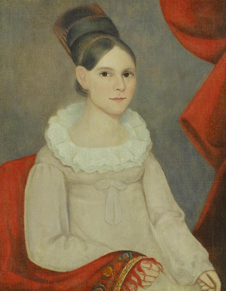 AMMI PHILLIPS (1788 - 1865) | Portrait of a Young Girl Wearing a Hair Comb and a Paisley Shawl