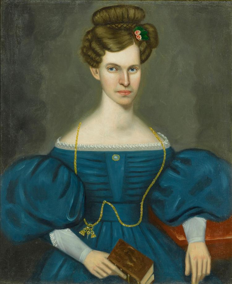 ERASTUS SALISBURY FIELD (1805 - 1900) | Portrait of a Young Woman in a Blue Dress and Wearing a Gold Pocket Watch Chain