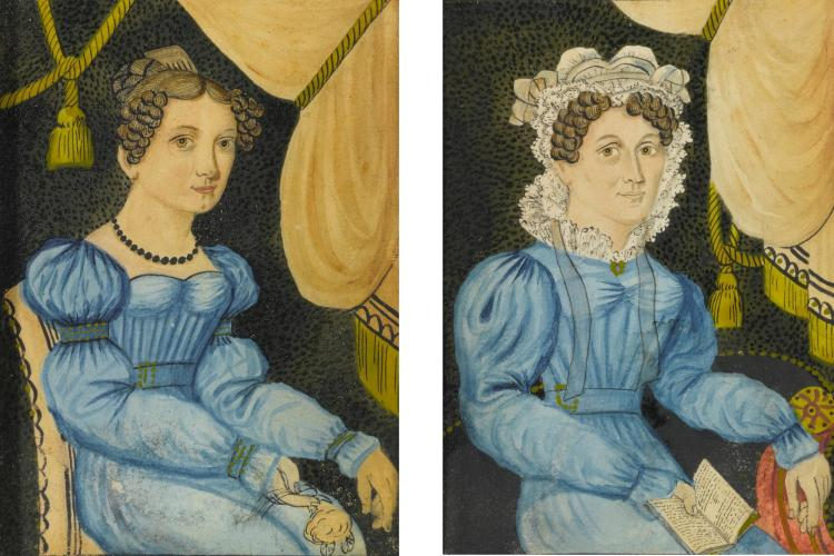 AMERICAN SCHOOL, 19TH CENTURY) | Two Portrait Miniatures of Ladies in Blue Dresses