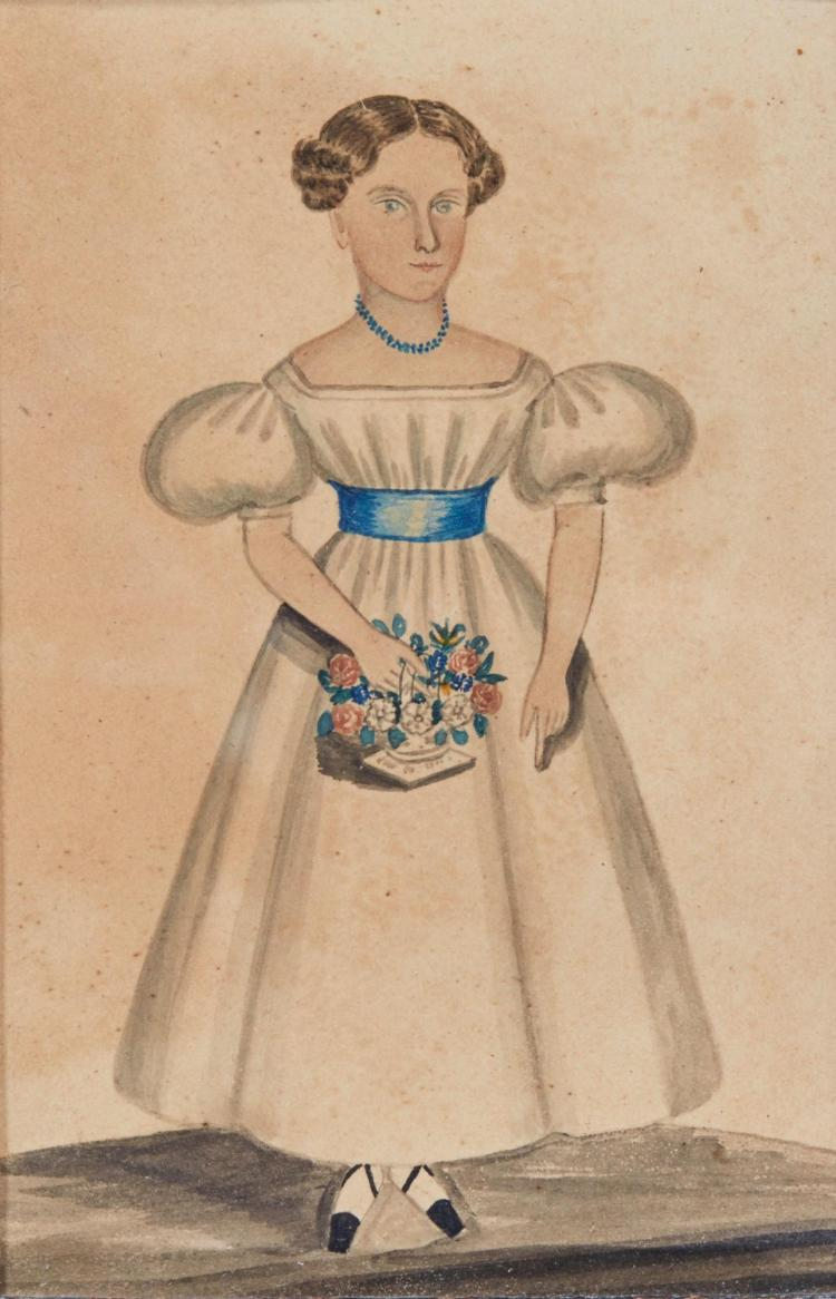 ATTRIBUTED TO DEBORAH GOLDSMITH (1808 - 1836) | Full-Length Portrait of a Girl in a White Dress