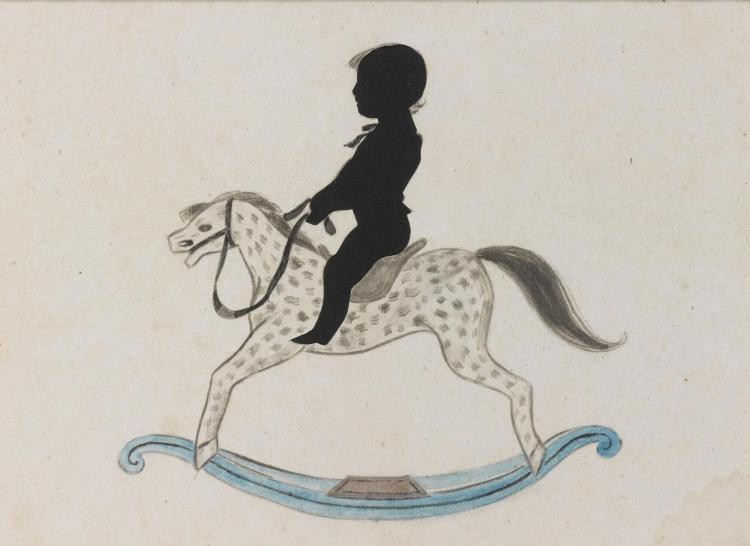 AMERICAN SCHOOL, 19TH CENTURY | Silhouette of a Boy on a Rocking Horse