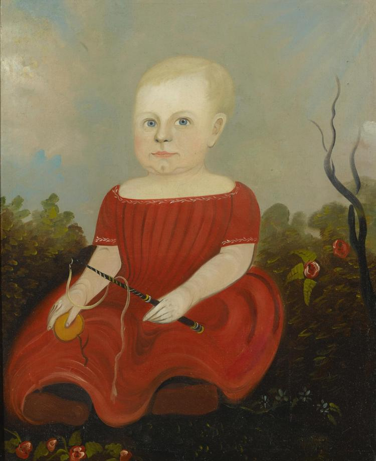ATTRIBUTED TO STURTEVANT J. HAMBLIN (ACTIVE 1837 - 1856) | Portrait of a Child in a Red Dress Holding a Toy Whip