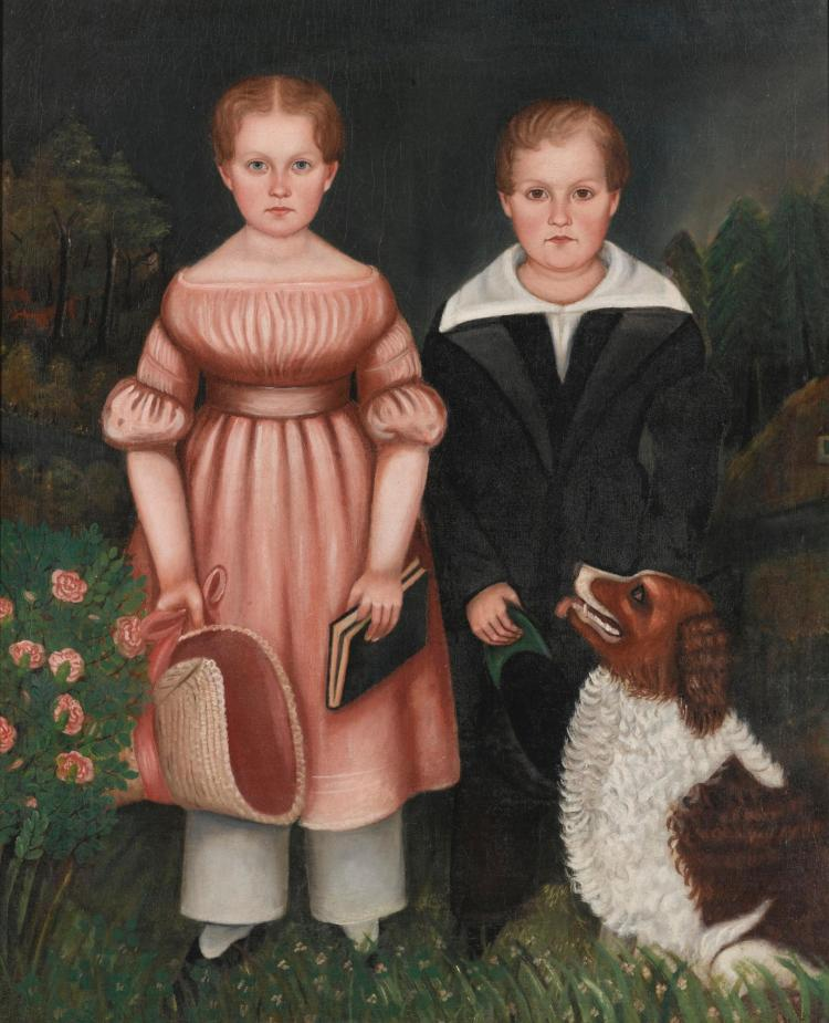 ATTRIBUTED TO HENRY WALTON (1820-1873) | Portrait of Two Children and a Red and White Setter
