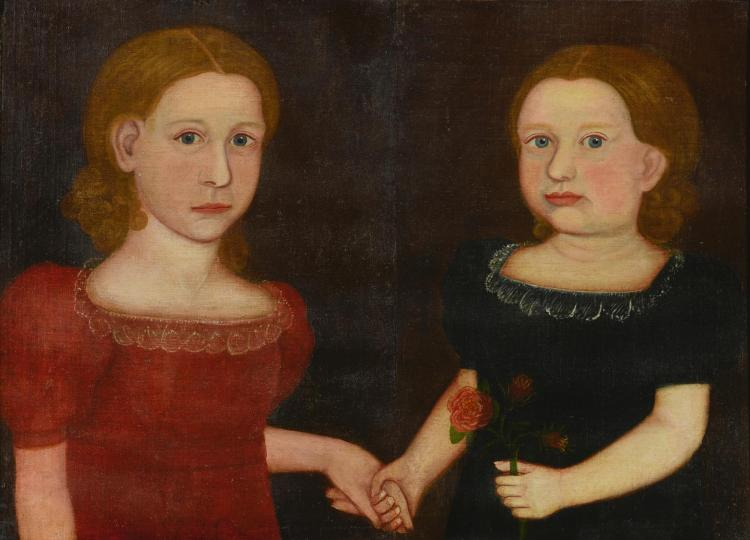 ATTRIBUTED TO ROYALL BREWSTER SMITH (1801-1855) | Double Portrait of a Girl in a Red Dress and a Girl in a Blue Dress Holding Hands