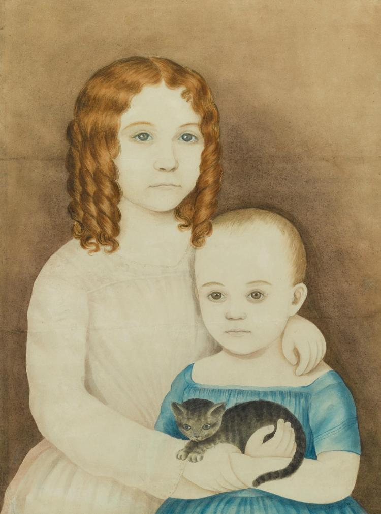 ATTRIBUTED TO MARY B. TUCKER (1784-1853) | Portrait of Two Children Holding a Kitten