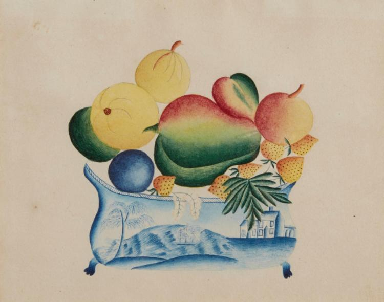 AMERICAN SCHOOL, 19TH CENTURY | Fruit in a China Bowl