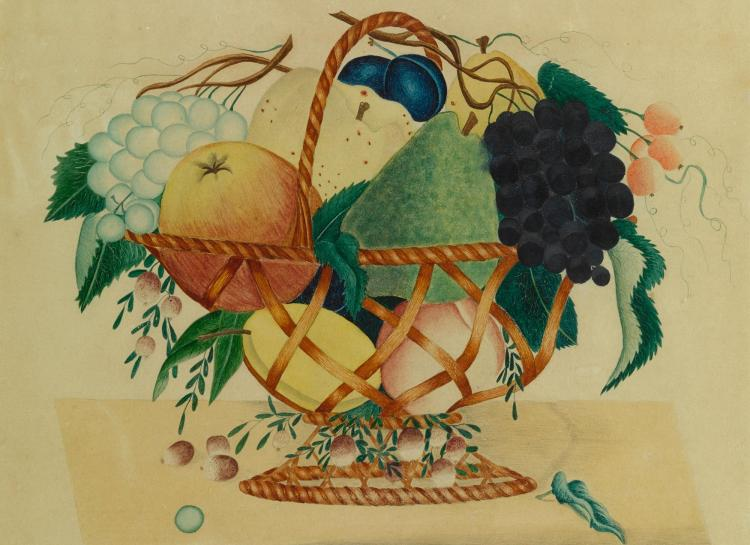 AMERICAN SCHOOL, 19TH CENTURY | Flowers in a White Vase; Fruit in a Basket: a pair