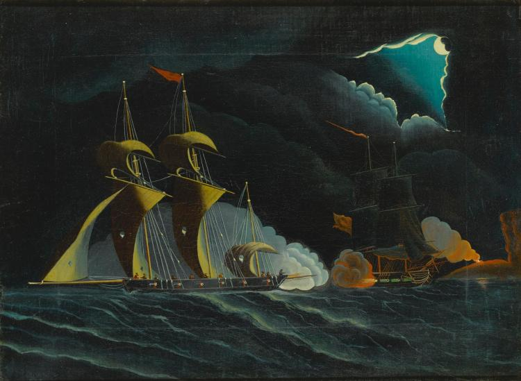 ATTRIBUTED TO THOMAS CHAMBERS (1798-1866) | Seascape, Night Scene with Pirate Ships and Cutter Firing Cannon