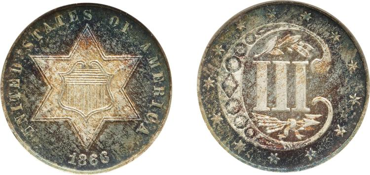 THREE-CENT PIECE, SILVER, 1866, NGC MS 65 CAC (GOLD)