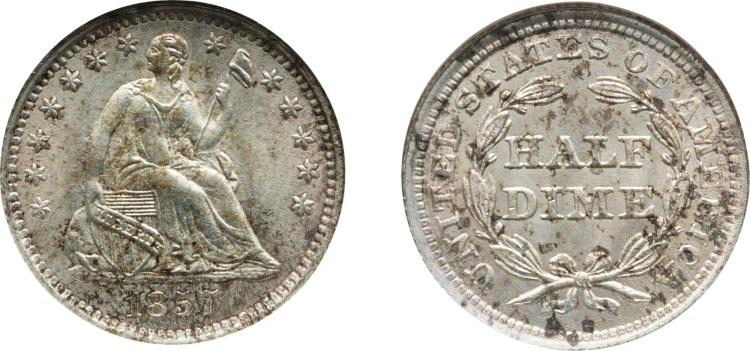 SEATED LIBERTY HALF DIME, 1857, NGC MS 65