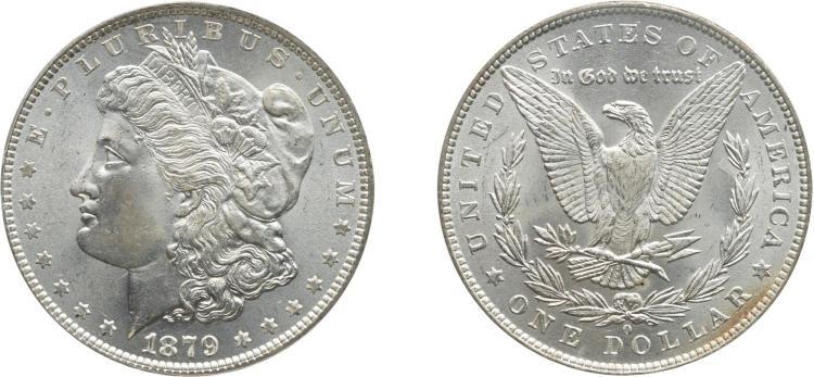 SILVER DOLLAR, 1879-O, PCGS MS 65 CAC