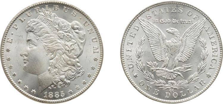 SILVER DOLLAR, 1885-CC, PCGS MS 67 CAC