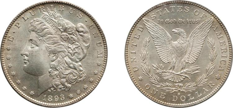 SILVER DOLLAR, 1893-S, PCGS MS 65 CAC