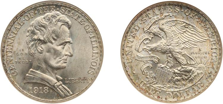 COMMEMORATIVE HALF DOLLARS (9), LINCOLN, ILLINOIS CENTENNIAL, 1918, PCGS MS 65 (7), NGC MS 65 (2)