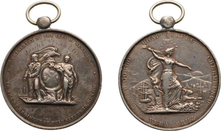 UNITED STATES, NEW YORK REGIMENT OF VOLUNTEERS IN MEXICO MEDAL, NO DATE [1848]