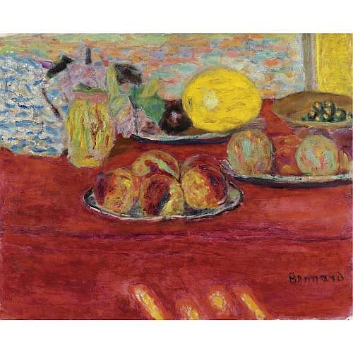 Pierre Bonnard , NATURE MORTE AU MELON