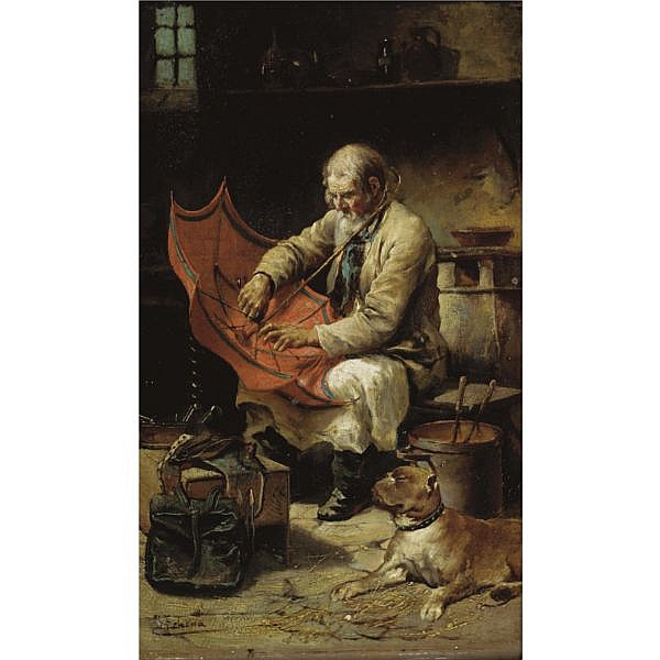 José de Echenagusía Errazquin, Spanish 1844-1912 , the umbrella maker oil on panel
