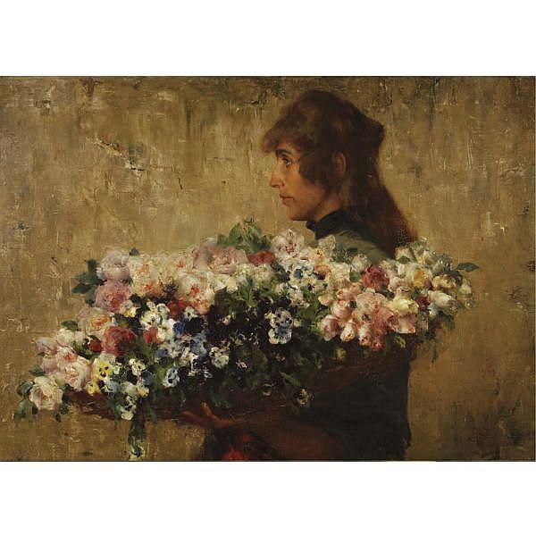 Charles Hermans, Belgian 1839-1924 , The Flower Seller oil on canvas