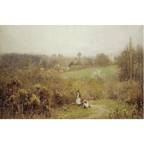 Albert Ernest Brockbank 1862-1958 , young girls gathering primroses watercolour