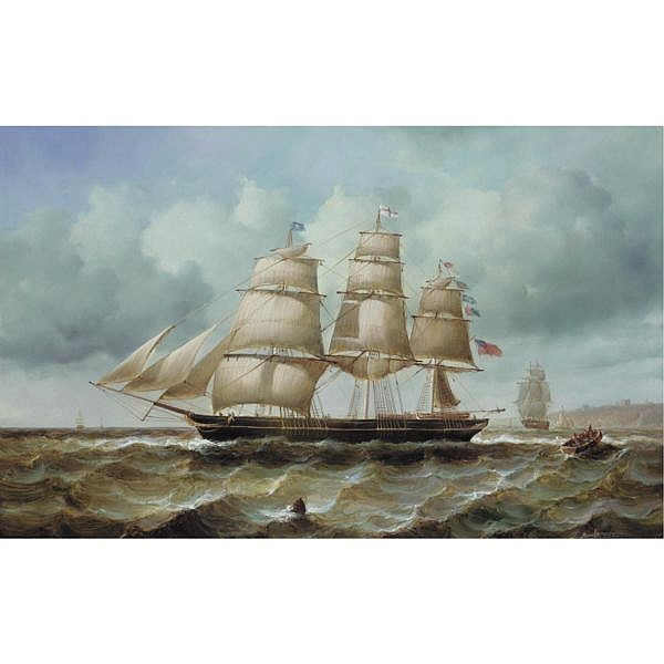 Jean Laurent, 1898-1988 , rowing ashore oil on panel