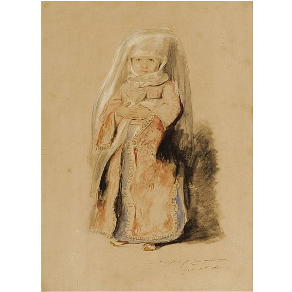 Sir David Wilkie, R.A., 1785-1841 , Portrait of the infant daughter of Admiral Walker, Commander of the Turkish Fleet pencil and watercolour