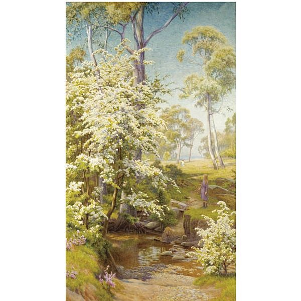Walter Follen Bishop, 1856-1936 , Under the Hawthorn Blossom watercolour on paper laid on canvas