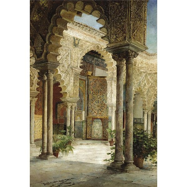 José Montenegro Capell, Spanish 1855-1924 , a sunlit courtyard, seville oil on canvas laid on board