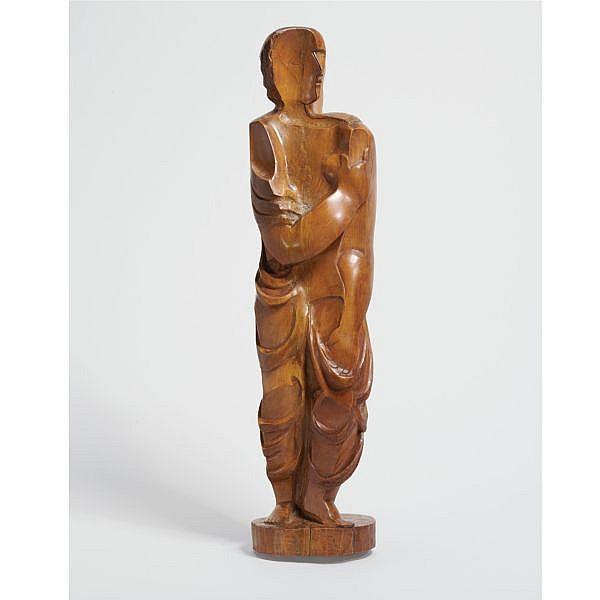 Ossip Zadkine , 1890-1967 FIGURINE DRAPÉE Wood