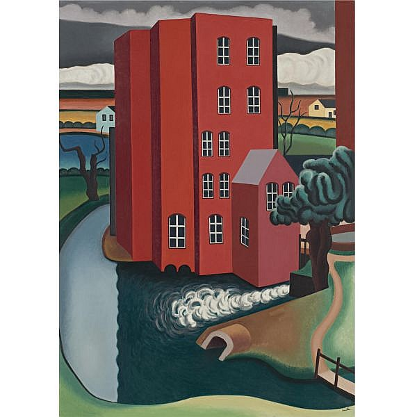 Auguste Herbin , 1882-1960 La Maison Rouge Oil on canvas