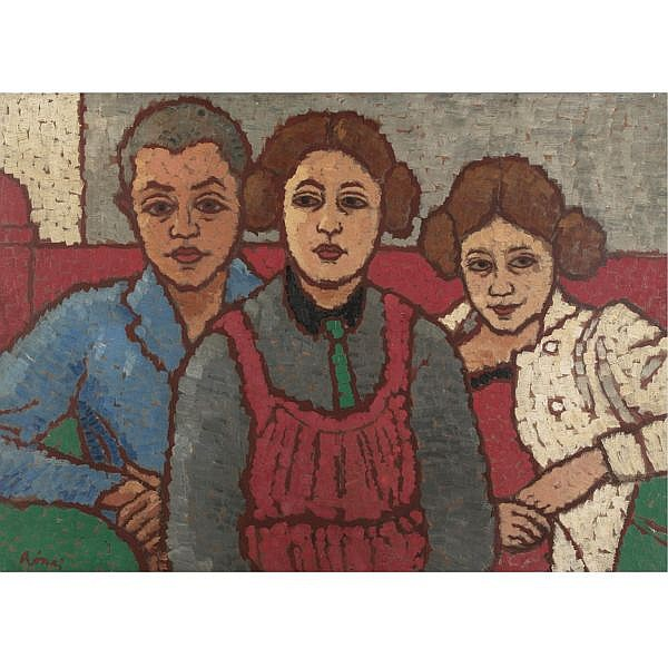 Jozsef Rippl-Ronaï , 1861-1927 Three Figures Oil on board
