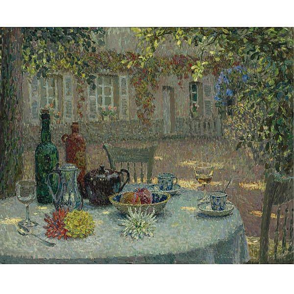 l - Henri le Sidaner , 1862-1939 La table aux dahlias Oil on canvas