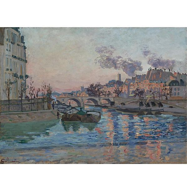 Armand Guillaumin , 1891-1955 Paris, Le pont Marie Oil on canvas