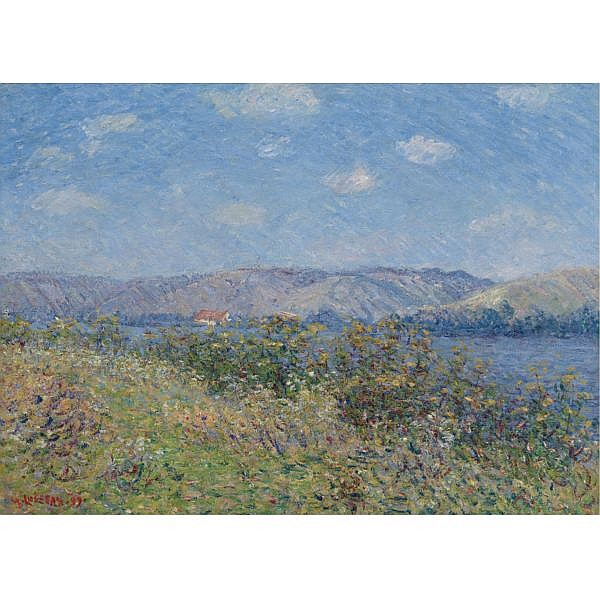 Gustave Loiseau , 1865-1935 Les berges de la seine en ete, tournedos-sur-seine Oil on canvas