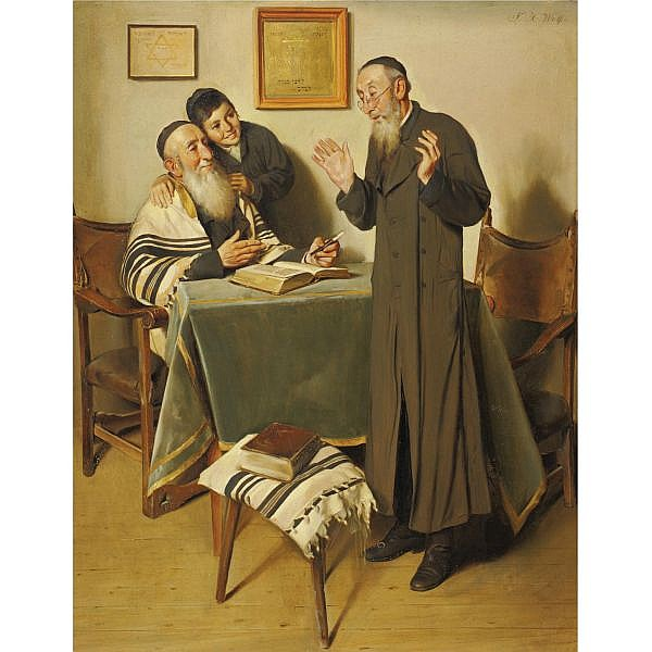 Franz Xaver Wolf 1896-1990 , Tamudic discussions oil on panel