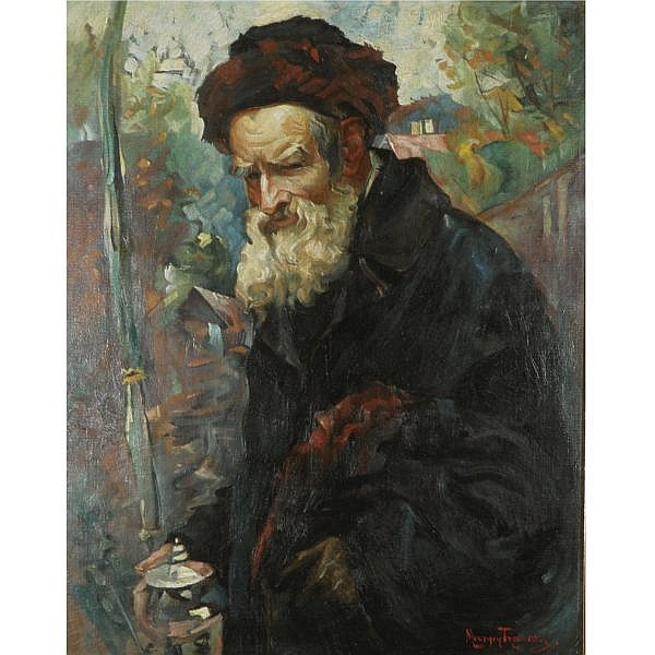 Maurycy Trebacz 1861-1941 , Rabbi with Lulav and Etrog container oil on canvas