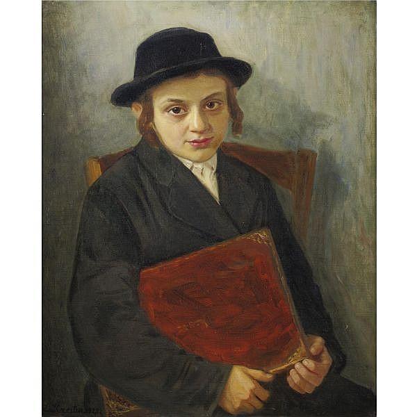 Lazar Krestin 1868-1938 , Portrait of a jewish boy oil on canvas