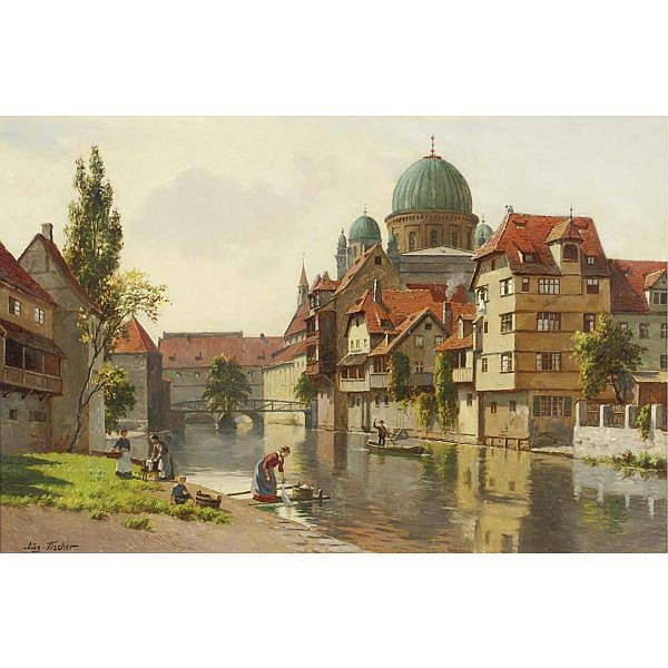August Fischer 1854-1921 , The synagogue in Nürenberg oil on canvas