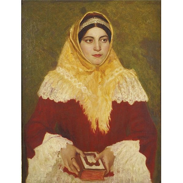 Lazar Krestin 1868-1938 , Portrait of a Jewish woman holding a prayer book oil on canvas