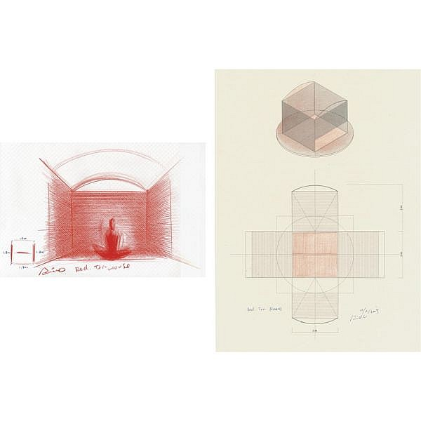 Tadao Ando , b. 1941 Red Tea House two drawings: (i) red pencil and ink on paper (ii) red pencil and ink on japanese rice paper